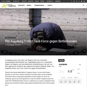 Presse Augsburg Pro Augsburg fordert Task-Force gegen Bettlerbanden